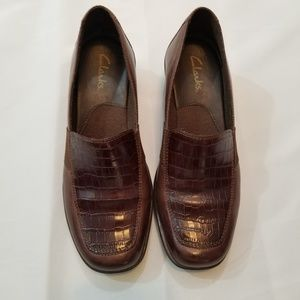 Clarks Brown Croc Print Leather Wedge Loafer